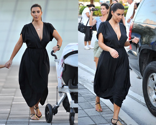 Kim Kardashian in Myne Heidi Dress and Dolce Vita Archer Sandals