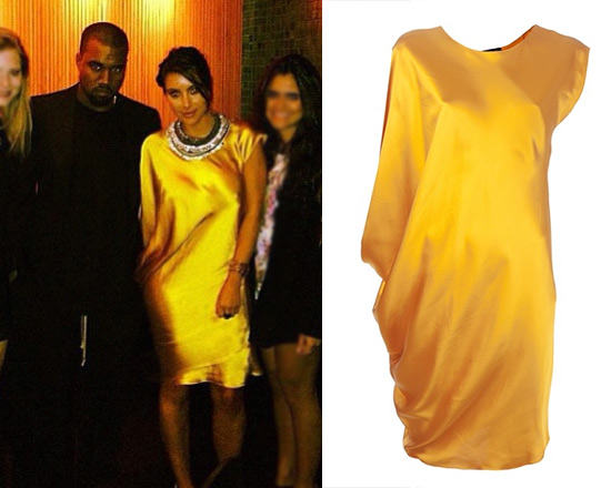 Kim Kardashian in Yellow Lanvin Draped Dress