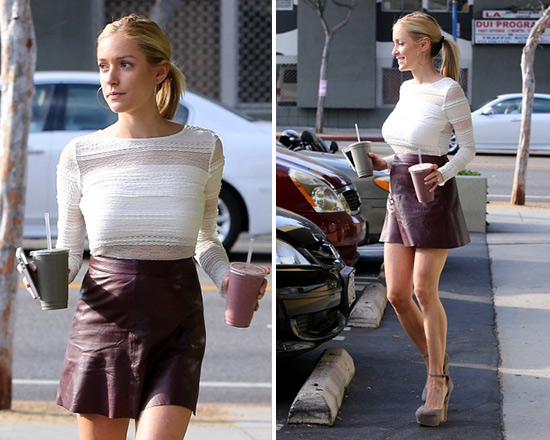 Kristin Cavallari in BCBG Lizza Lace-Stripe Top and Veda Chateau Flared Leather Skirt