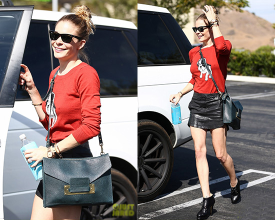 LeAnn Rimes in ModCloth Dog On It Sweater and MM6 Maison Martin Margiela Leather Miniskirt
