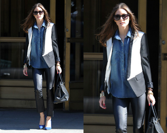 Olivia Palermo steps out in Tibi Wool Tuxedo Jacket