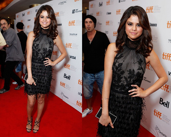 Selena Gomez in Alberta Ferretti Feather Dress
