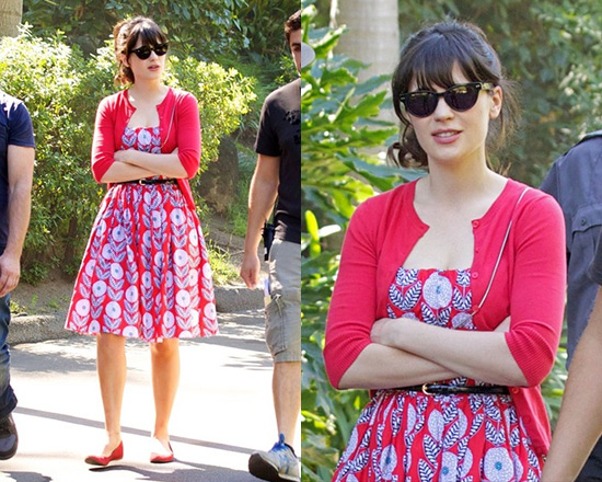 zooey-deschanel-ModCloth-What-a-Dahlia-Dress-in-Straps