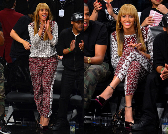 beyonce-Tibi-Alton-Print-Silk-Top-pants