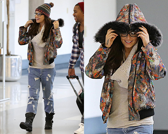 Cheryl Cole wraps up in Mulberry Zany Zigzag Shearling-trimmed Printed Jacket