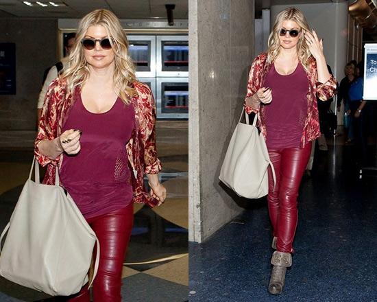 Fergie wearing Alexander Wang Mesh Laser Cut Tank and Fergie 'Battle' Boots