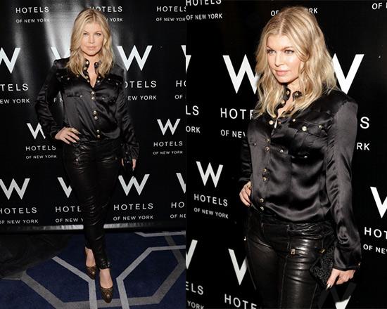 fergie-Balmain-button-collar-shirt-Balmain-Black-Low-Rise-Skinny-Leather-Pants