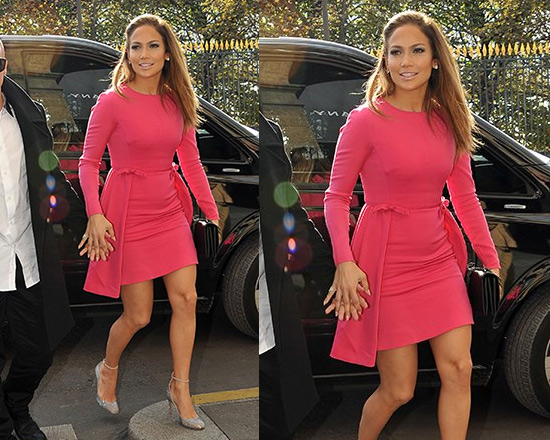Jennifer Lopez in Valentino Fuchsia Long Sleeve Wool Dress with Bows