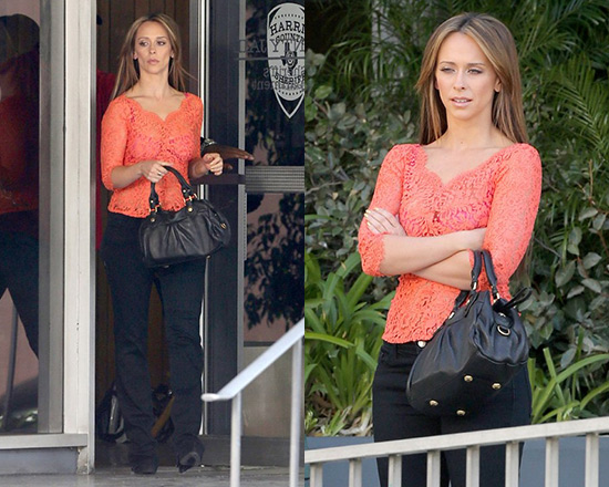Jennifer Love Hewitt wearing Lover Millie Cotton-Blend Lace Top