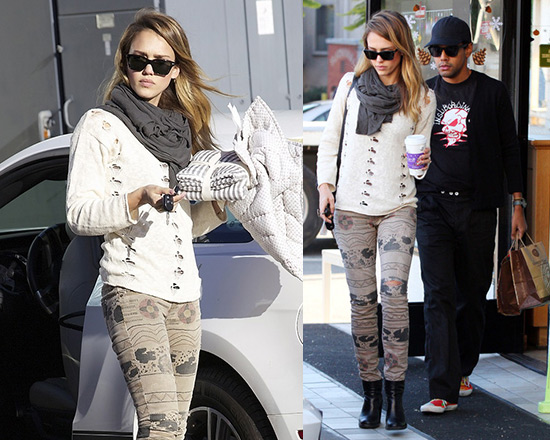 Jessica Alba in Style Stalker Macaroon Knit and Current/Elliott Print Ankle Skinny Jeans