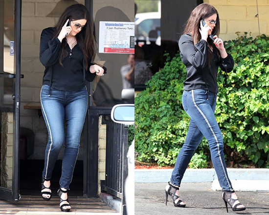 Khloe Kardashian steps out in J Brand 8820 Kacie Skinny Jeans with Leather Contrast