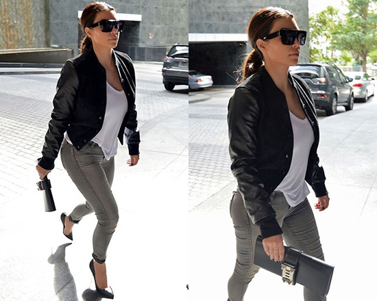 Kim Kardashian in Simone By Katie Nehra Varsity Jacket and BleuLab Detour Skinny Leggings
