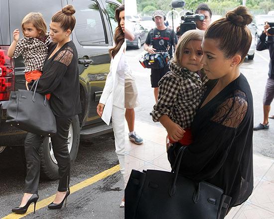 Kourtney Kardashian in Kardashian Kollection Black Lace Blouse