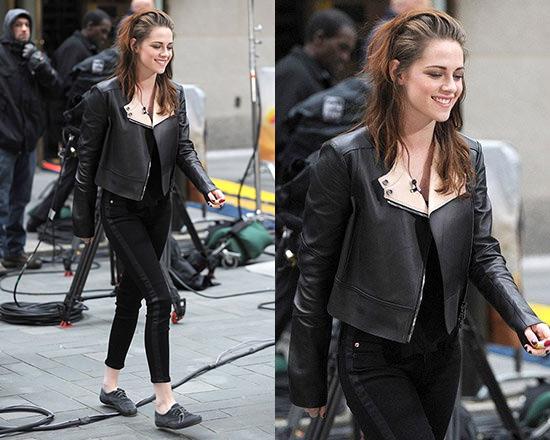 Kristen Stewart steps out in Belstaff Bowden Jacket and Hudson LouLou Tuxedo Skinny Jeans