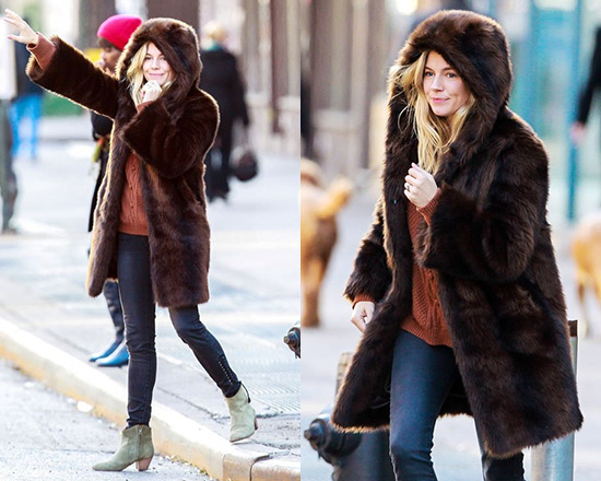 Sienna Miller wraps up in Ruby+Ed Faux Fur Coat