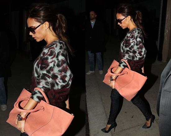 Victoria Beckham wearing Balenciaga Leopard Print Sweater
