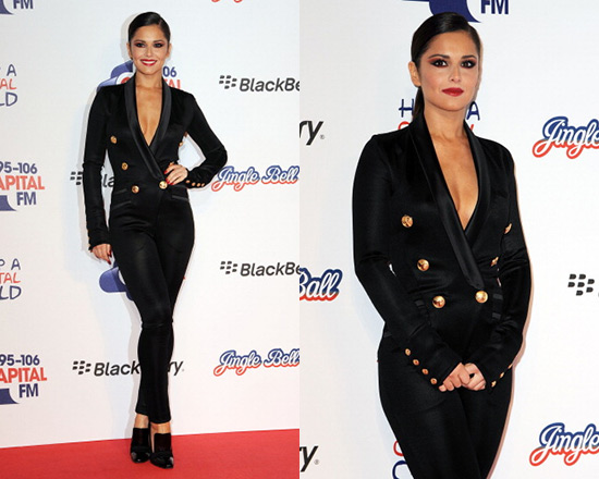 Cheryl Cole in Balmain Satin-trimmed Jersey Jumpsuit