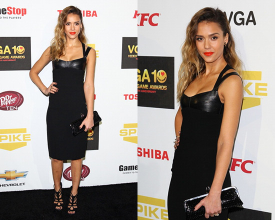 Jessica Alba in Narciso Rodriguez Leather and Crepe Dress