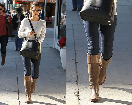 Jessica Alba wearing Tory Burch Tenley Riding Boots