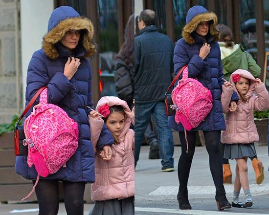 Katie Holmes wearing Moncler Genevrier Coat