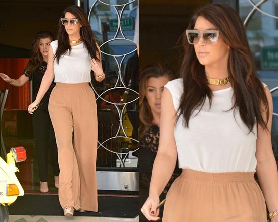 Kim Kardashian steps out in Chloé Casual Pants and Kardashian Kollection Top