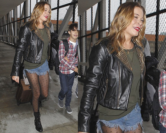 LeAnn Rimes in Balmain Pierre Studded Leather Jacket and One Teaspoon Bonitas Shorts