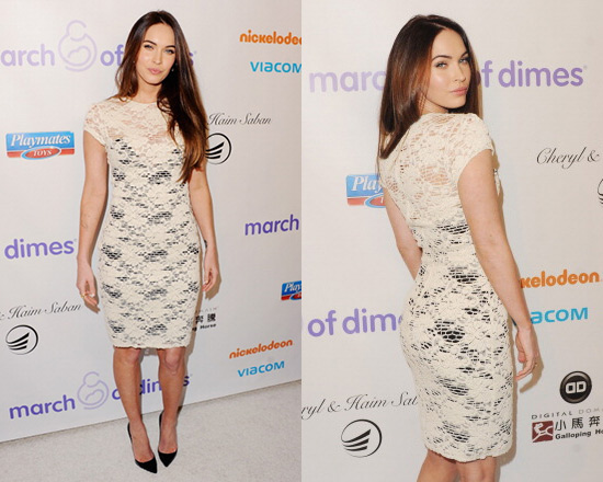 Megan Fox in L'Agence Lace Cap-Sleeve Dress