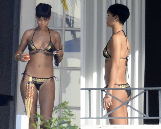 Rihanna in Charlie by Matthew Zink Grecian Foil Charlie Bikini