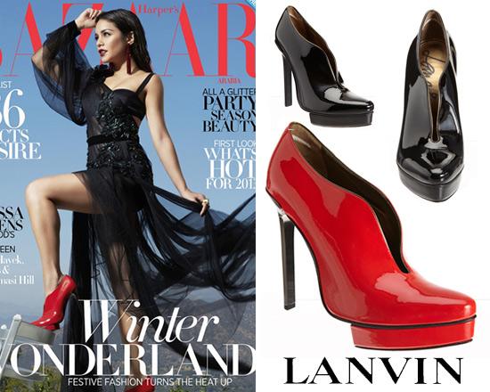 Vanessa Hudgens wearing Lanvin Slit Ankle Boots on Harper's Bazaar Arabia Cover