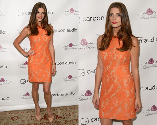 Ashley Greene wearing Yigal Azrouel Paisley Lace Dress