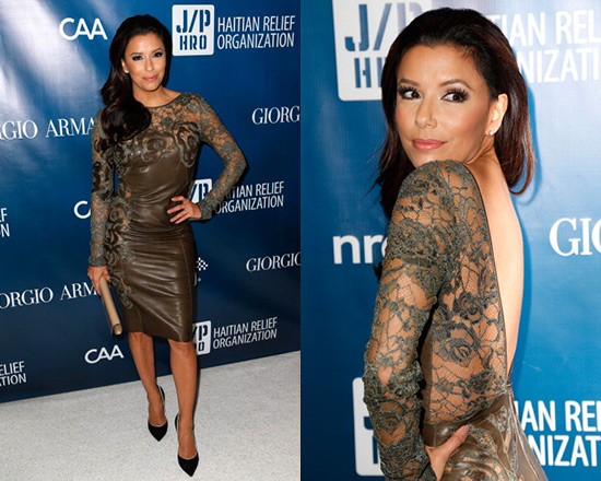Eva Longoria in Emilio Pucci Viscose Lace On Nappa Leather Dress