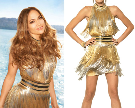 Jennifer Lopez in Versace Fringed Tie Dyed Gabardine Dress