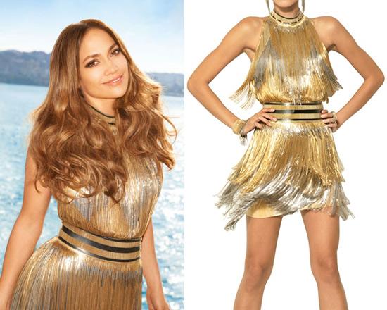 Jennifer Lopez in Versace Fringed Tie Dyed Gabardine Dress