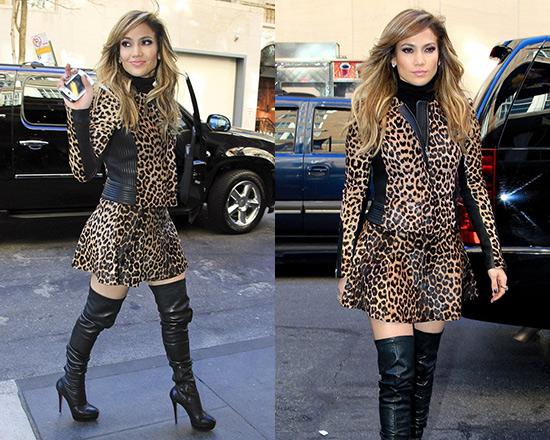 Jennifer Lopez in A.L.C. Leopard Print Leather Jacket & Skirt