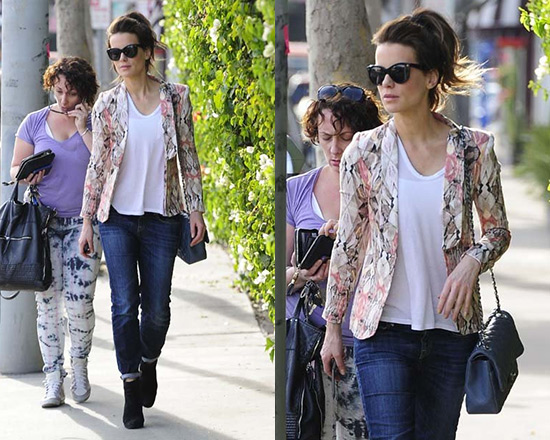 Kate Beckinsale wearing Style Stalker Free Love Blazer and R13 Relaxed Skinny Jeans