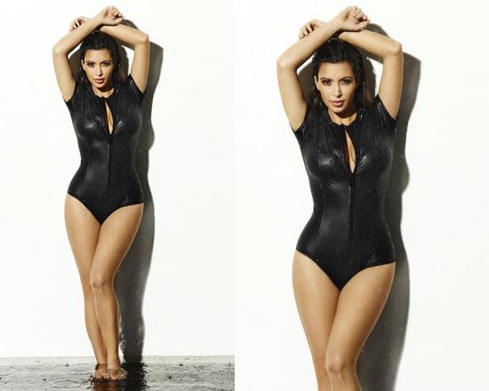 Kim Kardashian in Lisa Marie Fernandez 'The Farrah' Glossed Swimsuit