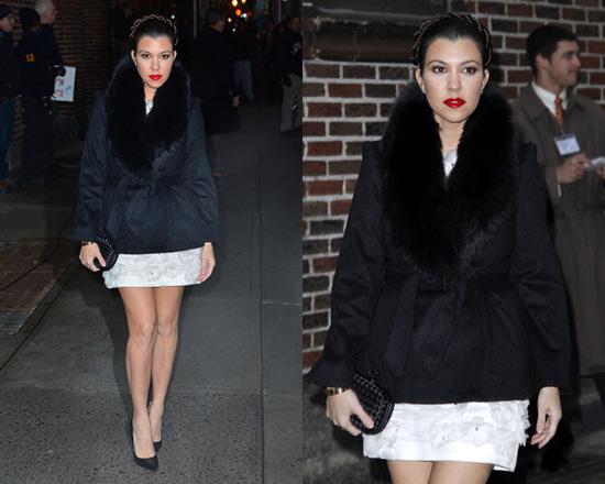 Kourtney Kardashian wearing Alice + Olivia Kyah Fur Trim Coat