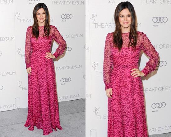 rachel-bilson-Valentino-Fuchsia-Black-Leopard-Print-Belted-Silk-Gown