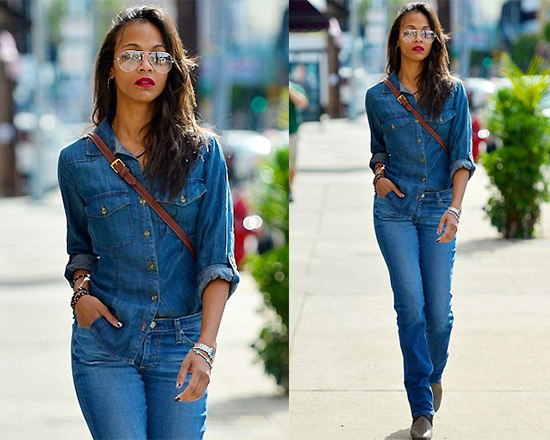 Zoe Saldana steps out in Bella Dahl Fitted Button Down Shirt