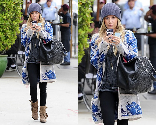 Ashley Tisdale steps out in Free People Flower Power Cardi and Free People Sunbelt Ankle Boots
