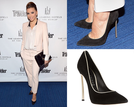Eva Longoria wearing Casadei Contrast Piped Pumps