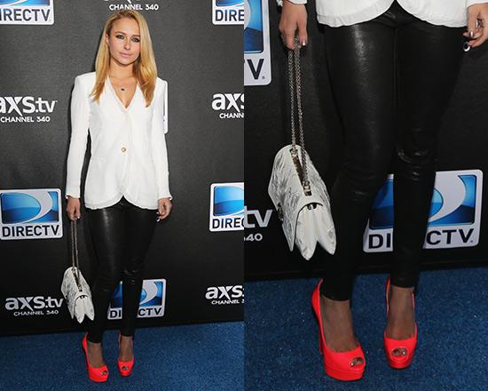 Hayden Panettiere wearing J Brand Leather Leggings & Christian Louboutin Lady Peep Pumps