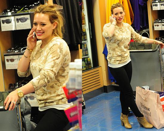 Hilary Duff wearing Equipment Sloane Camo Crew Neck Sweater