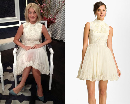 Julianne Hough in Ted Baker London 'Telago' Embroidered Tulle Frock
