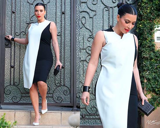 Kim Kardashian in Cedric Charlier Sleeveless Colorblock Dress