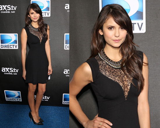 Nina Dobrev in French Connection Alicia Lace Front Dress
