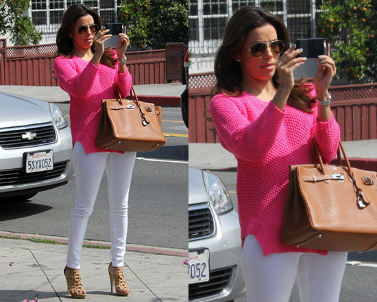 Eva Longoria wearing Style Stalker Moon Base Sweater in Pink