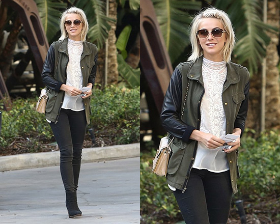 Julianne Hough wearing JET by John Eshaya Leather Sleeve Army Jacket