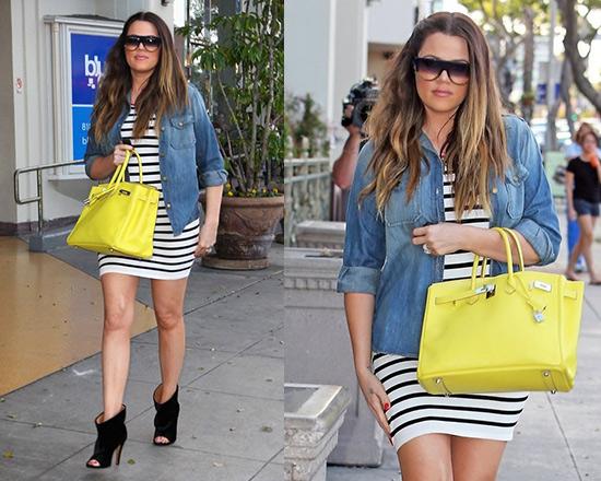 Khloe Kardashian in Intermix Contrast Zipper Striped Dress