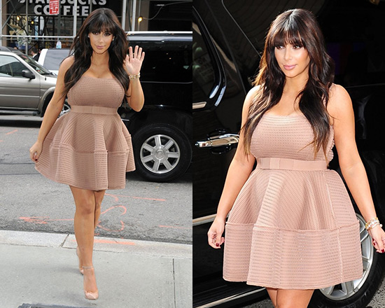 Kim Kardashian wearing Lanvin Honeycomb open-weave dress